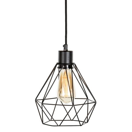 south shore plog it black hanging lamp with geometric shade - Hanging Lamp