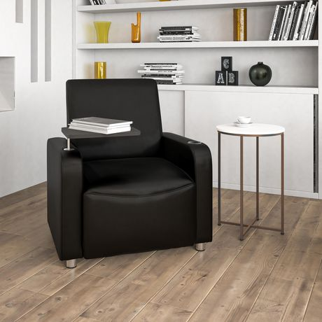 Pleasing Black Leather Guest Chair With Tablet Arm Chrome Legs And Cup Holder Uwap Interior Chair Design Uwaporg