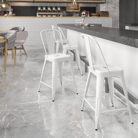 24'' High White Metal Indoor-Outdoor Counter Height Stool with Back - image 2 of 4