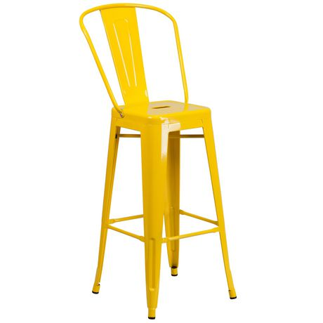 Awe Inspiring 30 High Yellow Metal Indoor Outdoor Barstool With Back Machost Co Dining Chair Design Ideas Machostcouk