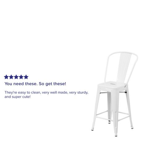 24'' High White Metal Indoor-Outdoor Counter Height Stool with Back - image 4 of 4