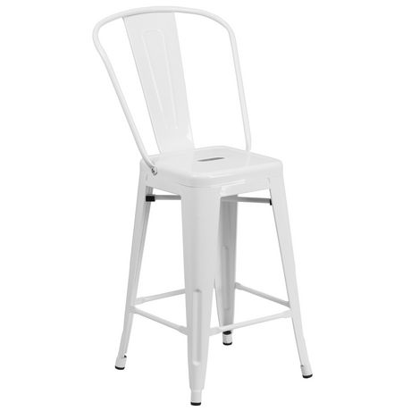 24'' High White Metal Indoor-Outdoor Counter Height Stool with Back - image 1 of 4