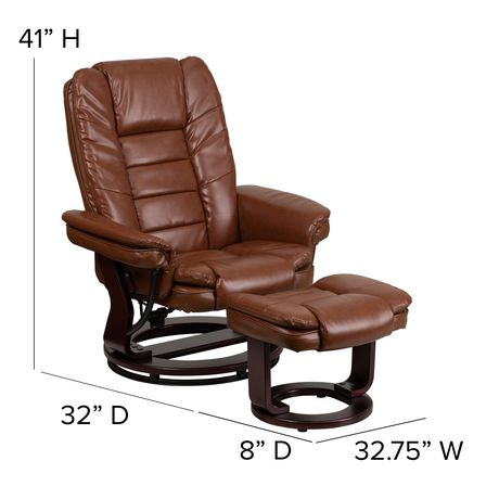 Contemporary Brown Leather Recliner with Horizontal Stitching and Ottoman with Swiveling Mahogany Wood Base - image 5 of 5