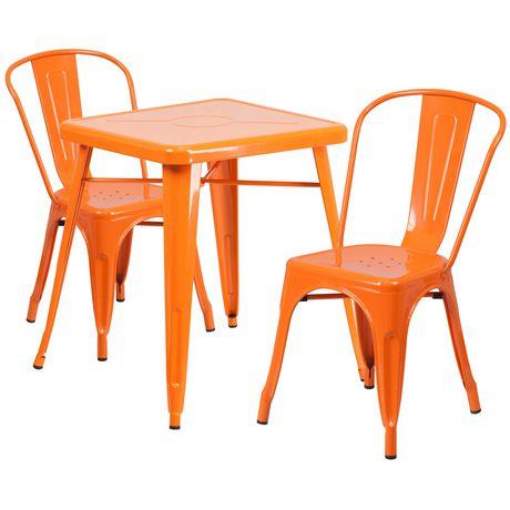 Chaises 2 Côté Po 75 De Métal En Avec Empilées Orange Carrée 23 Ensemble Intérieur Extérieur Table jzpGMVLSUq