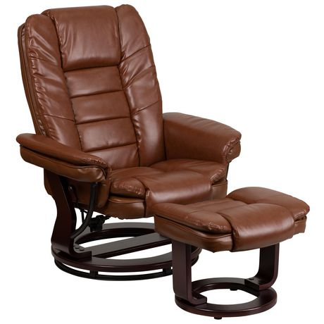 Contemporary Brown Leather Recliner with Horizontal Stitching and Ottoman with Swiveling Mahogany Wood Base - image 1 of 5