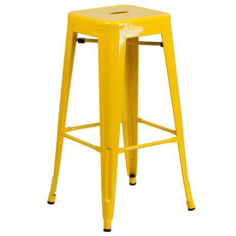 Tabouret de bar sans dossier en métal jaune de 30 pouces de hauteur pour l'intérieur et l'extérieur avec siège carré - image 1 de 1