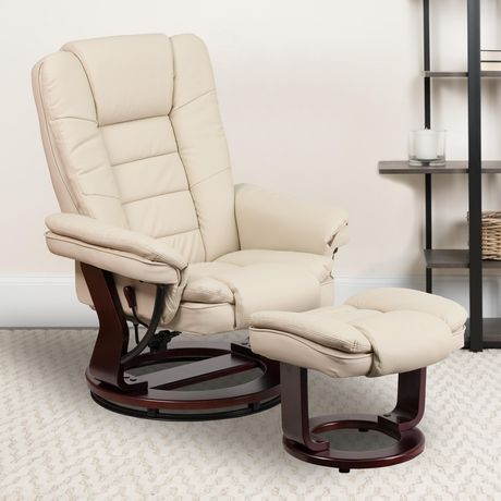 Contemporary Brown Leather Recliner with Horizontal Stitching and Ottoman with Swiveling Mahogany Wood Base - image 2 of 5