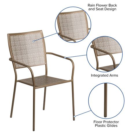 Gold Indoor-Outdoor Steel Patio Arm Chair with Square Back - image 5 of 6