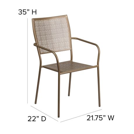 Gold Indoor-Outdoor Steel Patio Arm Chair with Square Back - image 6 of 6