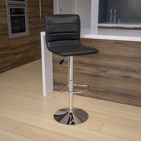 Tabouret de bar contemporain en vinyle gris à hauteur réglable avec dossier à couture horizontale et base en chrome - image 2 de 4