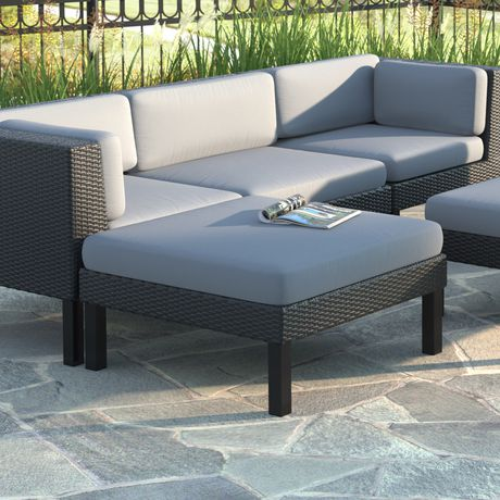 CorLiving PPO-801-O Oakland Textured Black Weave Patio Ottoman - image 1 of 3