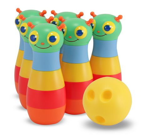 Large multi-coloured bowling pins, made by Melissa & Doug