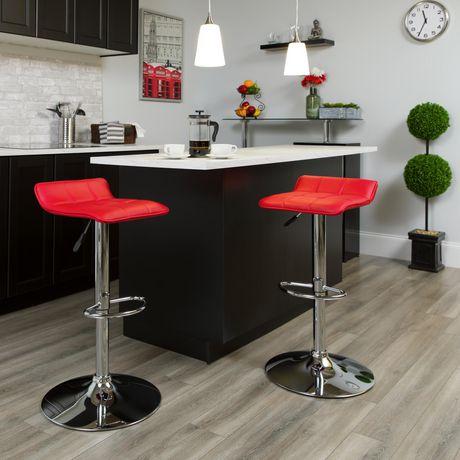 Tabouret de bar contemporain en vinyle rouge à hauteur réglable avec siège matelassé ondulé et base en chrome - image 2 de 4