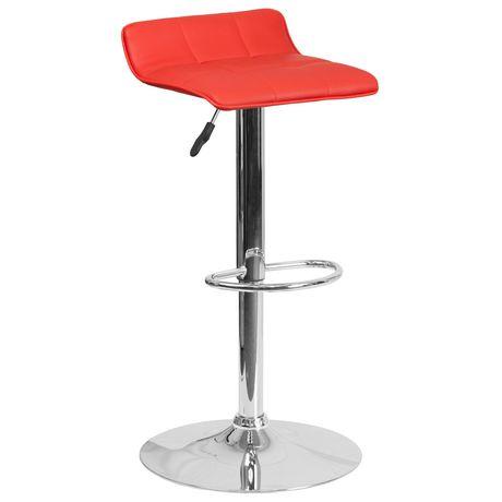 Tabouret de bar contemporain en vinyle rouge à hauteur réglable avec siège matelassé ondulé et base en chrome - image 1 de 4