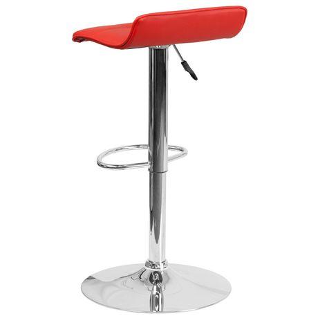 Tabouret de bar contemporain en vinyle rouge à hauteur réglable avec siège matelassé ondulé et base en chrome - image 3 de 4