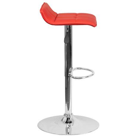 Tabouret de bar contemporain en vinyle rouge à hauteur réglable avec siège matelassé ondulé et base en chrome - image 4 de 4