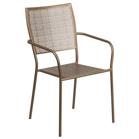 Gold Indoor-Outdoor Steel Patio Arm Chair with Square Back - image 1 of 6