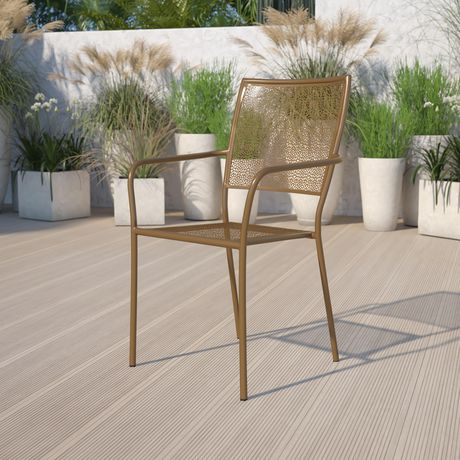 Gold Indoor-Outdoor Steel Patio Arm Chair with Square Back - image 2 of 6