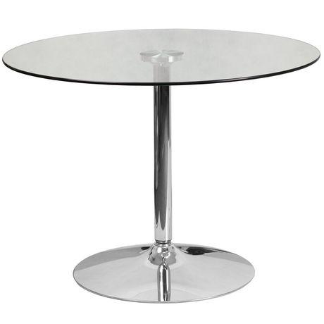 Table ronde en verre de 31,5 pouces avec base en chrome de 29 pouces de hauteur - image 1 de 1