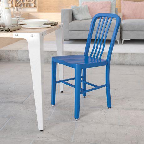 Chaise pour l'intérieur et l'extérieur en métal bleu - image 2 de 4
