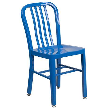Chaise pour l'intérieur et l'extérieur en métal bleu - image 1 de 4