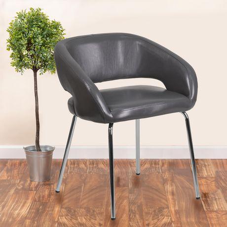 Chaise de réception contemporain auxiliaire en cuir gris de la série Fusion - image 2 de 4