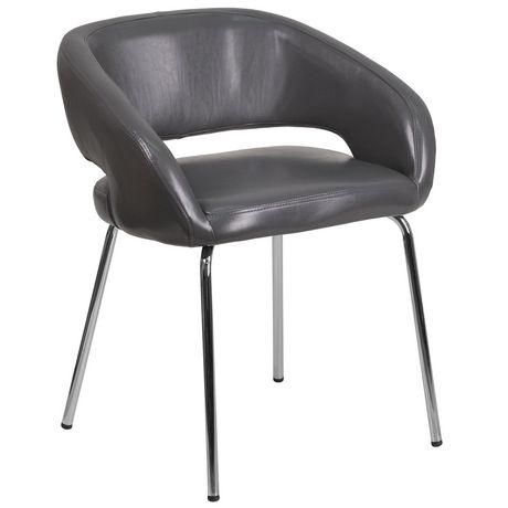 Chaise de réception contemporain auxiliaire en cuir gris de la série Fusion - image 1 de 4