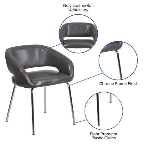 Chaise de réception contemporain auxiliaire en cuir gris de la série Fusion - image 4 de 4