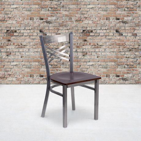 HERCULES Series Clear Coated ''X'' Back Metal Restaurant Chair - Burgundy Vinyl Seat - image 2 of 4