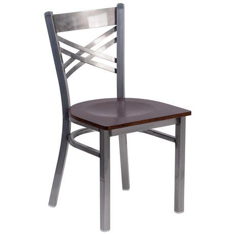 HERCULES Series Clear Coated ''X'' Back Metal Restaurant Chair - Burgundy Vinyl Seat - image 1 of 4