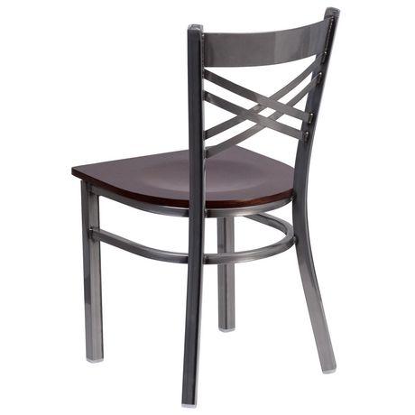 HERCULES Series Clear Coated ''X'' Back Metal Restaurant Chair - Burgundy Vinyl Seat - image 4 of 4
