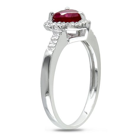 Bague Tangelo en forme de cœur avec 1 carat de rubis synthétique et 0.10 carat de diamant en argent sterling - image 2 de 3