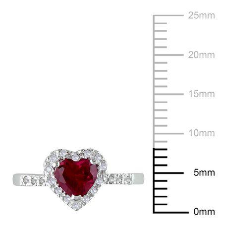 Bague Tangelo en forme de cœur avec 1 carat de rubis synthétique et 0.10 carat de diamant en argent sterling - image 3 de 3