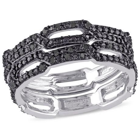 Ensemble de bagues empilables Asteria avec diamants noirs 1/7 CT poids total en argent sterling - image 1 de 4