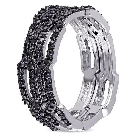 Ensemble de bagues empilables Asteria avec diamants noirs 1/7 CT poids total en argent sterling - image 2 de 4