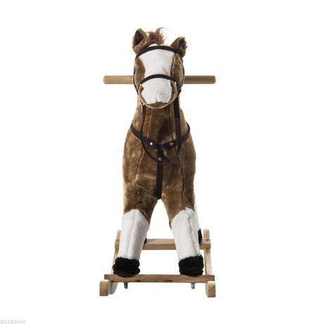 Qaba Kids Plush Brown Rocking Horse w/ Realistic Sounds - image 3 of 5