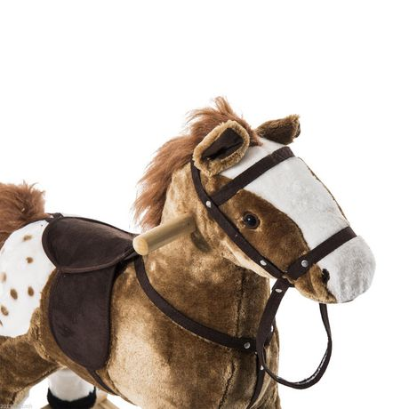 Qaba Kids Plush Brown Rocking Horse w/ Realistic Sounds - image 4 of 5