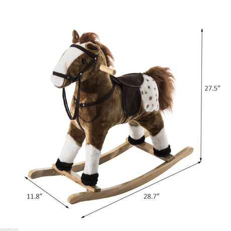 Qaba Kids Plush Brown Rocking Horse w/ Realistic Sounds - image 2 of 5