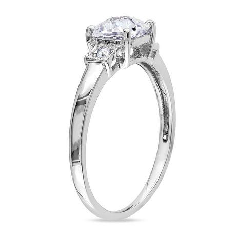 Bague de fiançailles Miabella avec 1.25 carat de saphir blanc synthétique de coupe coussin et diamant en argent sterling - image 2 de 4
