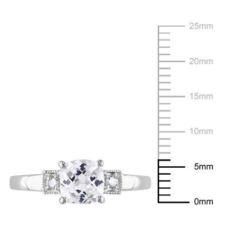Bague de fiançailles Miabella avec 1.25 carat de saphir blanc synthétique de coupe coussin et diamant en argent sterling - image 3 de 4