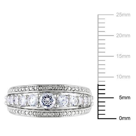 Bague mode Miabella avec 1.13 carat de saphir blanc synthétique en argent sterling - image 3 de 4
