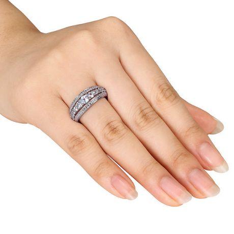Bague mode Miabella avec 1.13 carat de saphir blanc synthétique en argent sterling - image 4 de 4