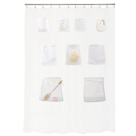 Mesh Pockets PEVA Shower Curtain