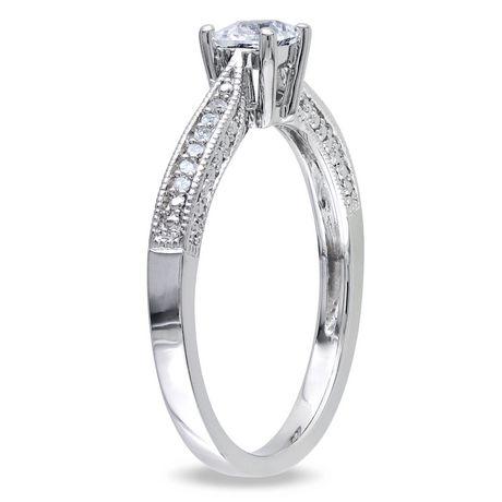 Bague de fiançailles Miabella avec 0.33 carat de saphir blanc synthétique et diamant en argent sterling - image 2 de 4