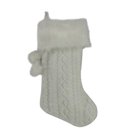 Bas de Noël blanc Holiday time en tricot épais - image 1 de 1