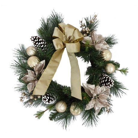 Courronne de Noël en poinsettia Holiday time de 28 po - image 1 de 1