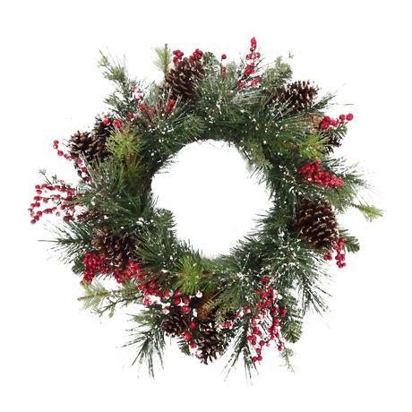 Guirlande de Noël Holiday time avec mélange de houx et baies de 28 po - image 1 de 1