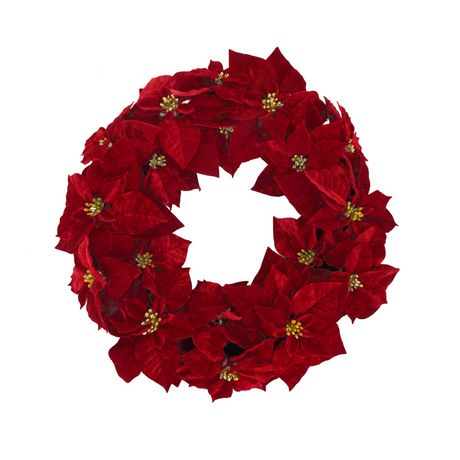 Couronne de Noël en poinsettia Holiday time de 28 po - image 1 de 1