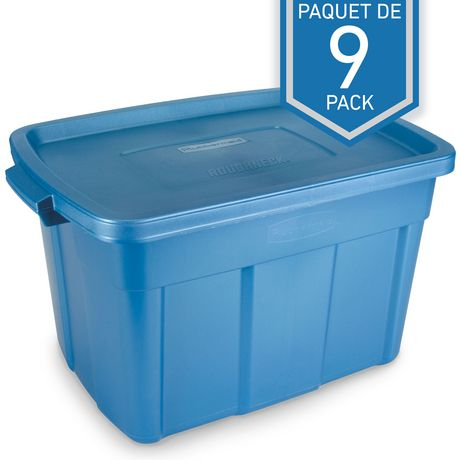 Rubbermaid Roughneck 94 L Totes, 9 Pack   Blue by Rubbermaid