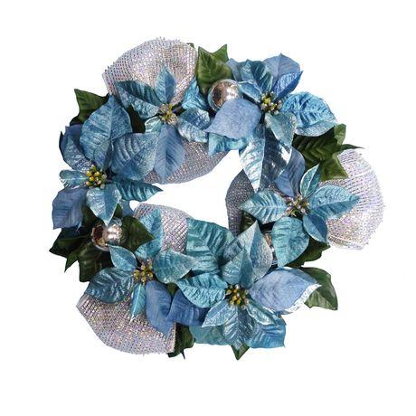 Couronne de poinsettia Holiday time en bleu - image 1 de 1